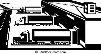 bienes, almacén, carga, camiones