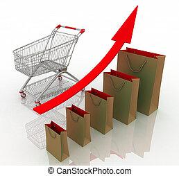bienes, empresa / negocio, obteniendo, ingresos, venta, ventas, mejor, chart., crecimiento, presentación, services., aumento, economía