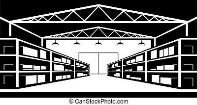 bienes, estantes, almacén industrial