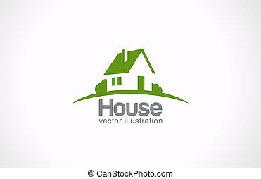 bienes raíces, casa, resumen, countryside., bienes raíces, logotipo, icon.