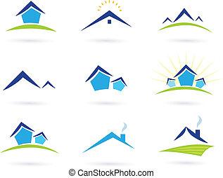 bienes raíces, iconos, /, casas, logotipo