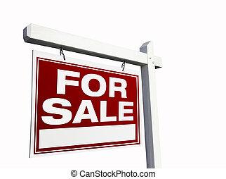 bienes raíces, muestra de la venta, rojo blanco