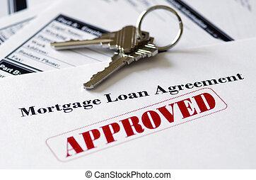 bienes raíces, préstamo de hipoteca, documento, aprobado