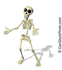 bienvenida, caricatura, esqueleto