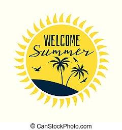 Bienvenida etiqueta solar de verano con silueta de playa