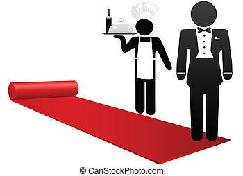 bienvenida, gente, hotel, hospitalidad, alfombra, rollo, rojo, afuera