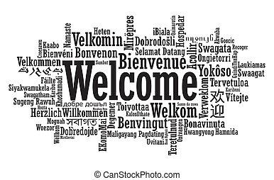 bienvenida, palabra, nube, ilustración