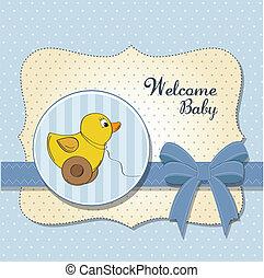 Bienvenida tarjeta de bebé con juguete de pato