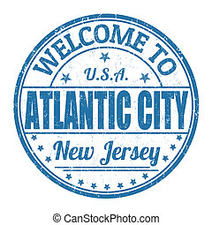 Bienvenidos a Atlantic City Stamp