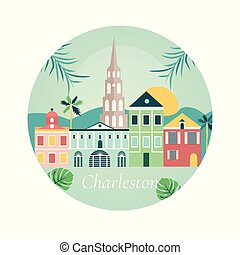 Bienvenidos a Charlestone poster con puntos de referencia