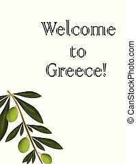 Bienvenidos a la tarjeta Grecia con vector de olivo