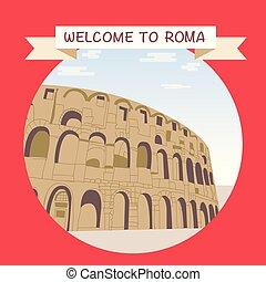 Bienvenidos a Roma con el famoso coliseo.