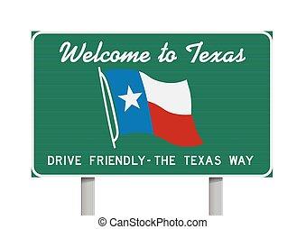 Bienvenidos a Texas Road sign
