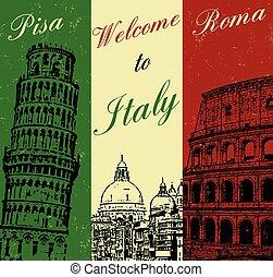 Bienvenidos al afiche de Italia
