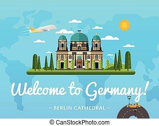 Bienvenidos al póster de Alemania con una famosa atracción