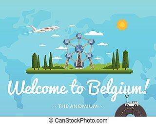 Bienvenidos al póster de Bélgica con famosa atracción