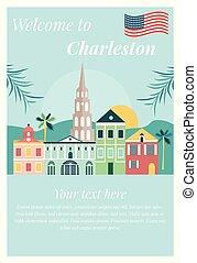 Bienvenidos al póster de Charleston con puntos de referencia