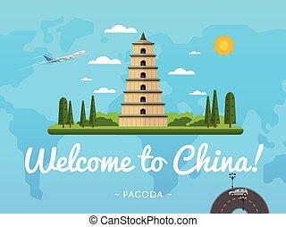 Bienvenidos al póster de China con una famosa atracción