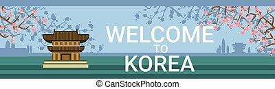 Bienvenidos al póster de Corea con templos tradicionales o palacios sobre el florecimiento del árbol sakura