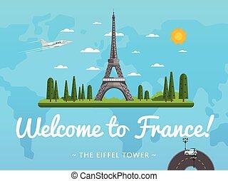 Bienvenidos al póster de Francia con famosa atracción