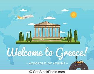 Bienvenidos al póster de Grecia con famosa atracción
