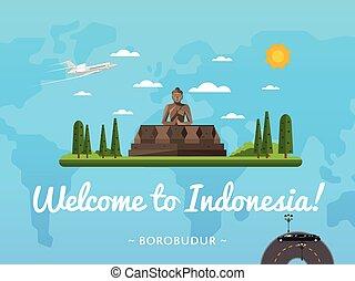Bienvenidos al póster de Indonesia con una famosa atracción