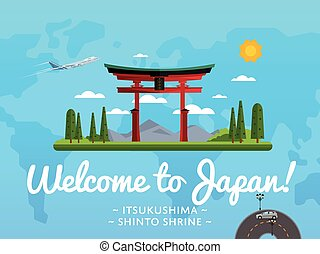 Bienvenidos al póster de Japón con una famosa atracción