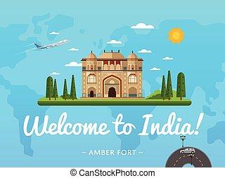 Bienvenidos al póster de la India con una famosa atracción