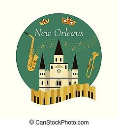 Bienvenidos al póster de Nueva Orleans con símbolos famosos