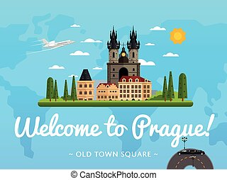 Bienvenidos al póster de Praga con famosa atracción