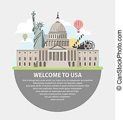 Bienvenidos al póster promocional de EE.UU. con atracciones famosas