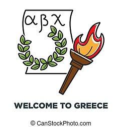 Bienvenidos al póster promocional de Grecia con antorcha y corona de laurel