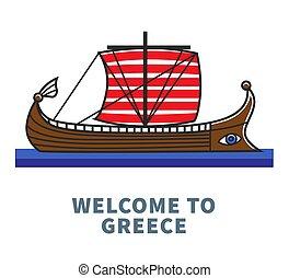Bienvenidos al póster promocional de Grecia con un barco largo