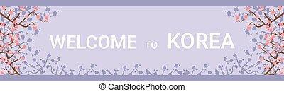 Bienvenidos al poster de destino horizontal de Corea con hermosas flores de sakura en el fondo