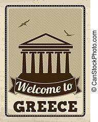 Bienvenidos al poster de Grecia retro
