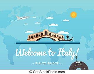 Bienvenidos al poster de Italia con famosa atracción