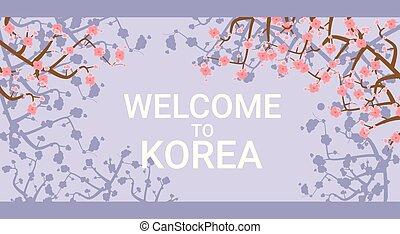 Bienvenidos al poster de viaje de Corea con flores rosadas de sakura en el fondo