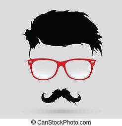 Bigote, barba y hipster peinado