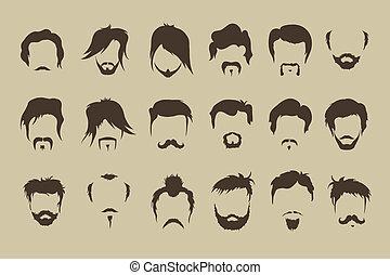 bigote, set., vector, pelo, barba