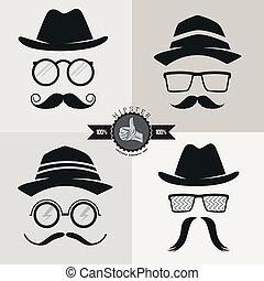 bigotes, hipster, sombreros, anteojos, y