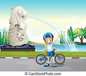 biker, estatua de merlion, joven