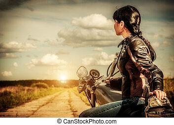 biker, niña, motocicleta
