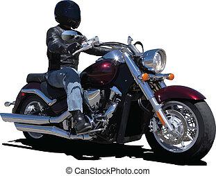 biker., vector, ilustración