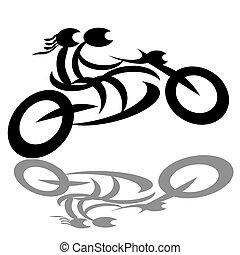 bikers, pareja, motocicleta
