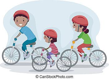 biking, familia , juntos