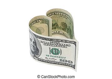 Bill de dólares en forma de corazón