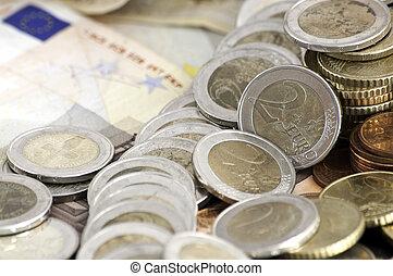 billetes de banco, coins, euro