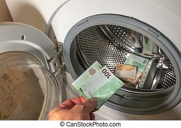 billetes de banco, lavadora, 100, concepto, mano, euro, lavado, pila, dentro, ser, limpiado, details., plano de fondo, billete de banco, hombre del dinero, añadir