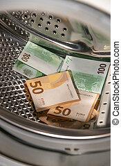 billetes de banco, máquina, sobre, lavado, concepto, euro, lavado, pila, ser, limpiado, details., plano de fondo, dinero, dentro