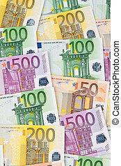billetes de banco, muchos, euro